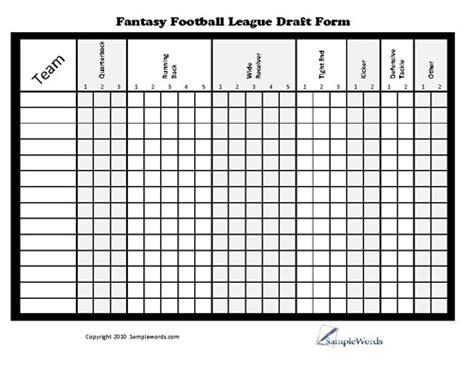 Printable Fantasy Football League Draft Form Draft Board Template