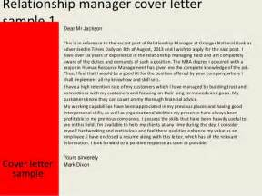 Customer Relations Cover Letter by Relationship Manager Cover Letter