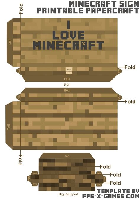 minecraft papercraft i minecraft sign template cut out