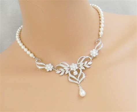 braut collier bridal necklace wedding back drop necklace pearl brical