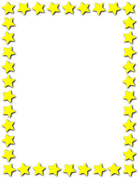 printable star frames star frame yellow page frames star border star frame