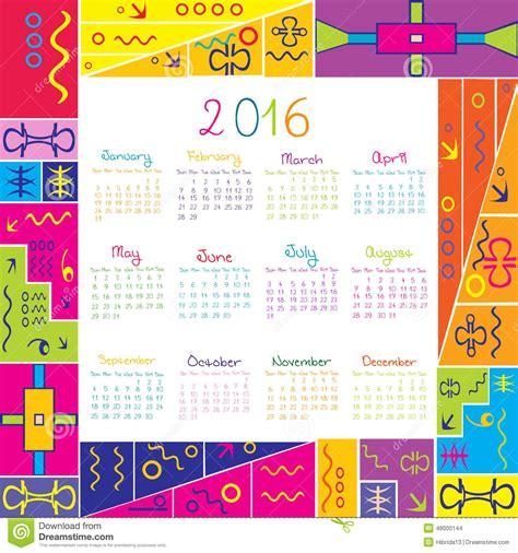 Z Calendario 2016 2016 Calendar With Frame For Stock Vector Image