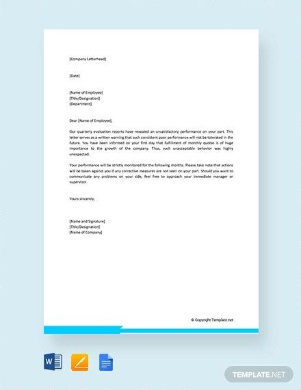 performance warning letter template word