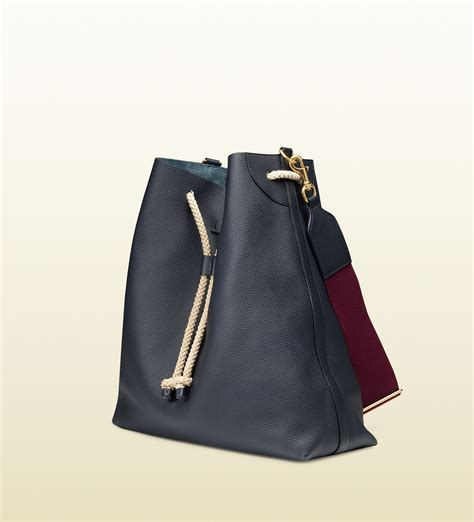 Spiegel Rope Detail Canvas Handbag by Gucci Leather Shoulder Bag With Rope Drawstring Closure In
