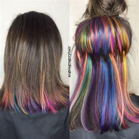 how to highlight hair underneath pull off rainbow hair with these subtle rainbow highlights