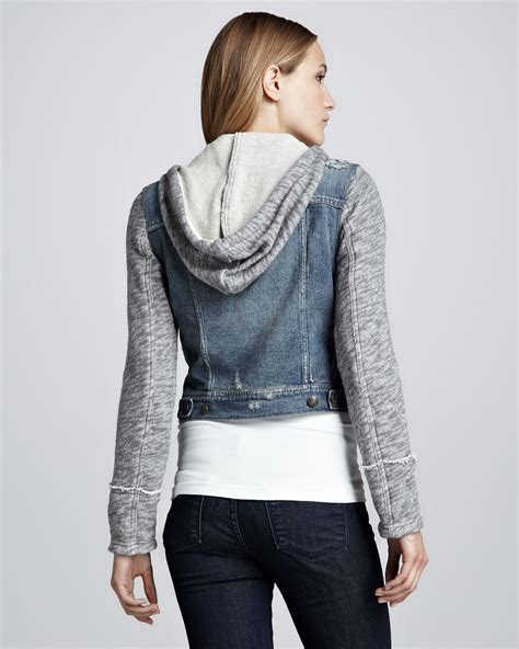 free denim and knit jacket free denim and knit hoodie jacket in blue lyst