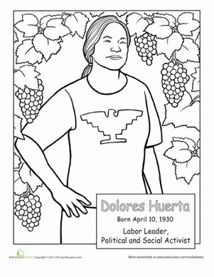Dolores Huerta Coloring Page Education Com Free Cesar Chavez Coloring Page