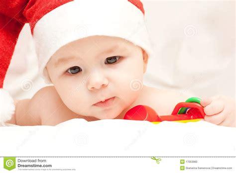newborn baby in santa claus hat stock photo image 17053960