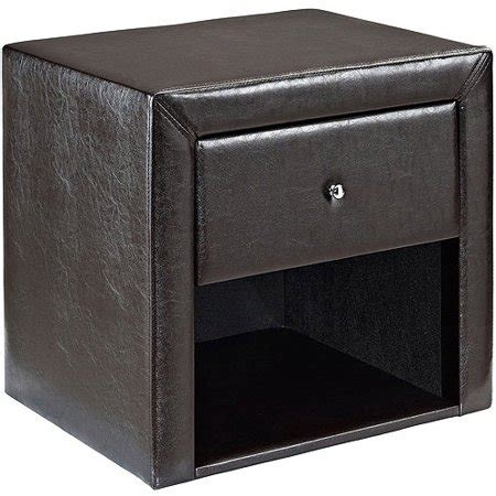 Black Leather Nightstand by Faux Leather Upholstered 1 Drawer Nightstand