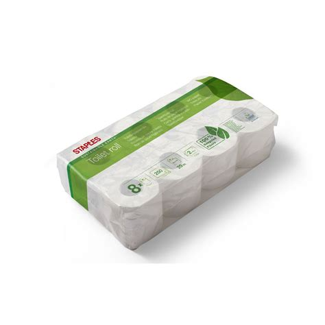 staples sustainable earth standard roll toilet paper  ply  sheets embossed recycled