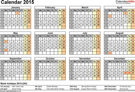 Calendario 2015 Excel Calendar 2015 Uk With Bank Holidays Excel Pdf Word Templates
