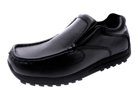 mens boys black leather school shoes work loafers