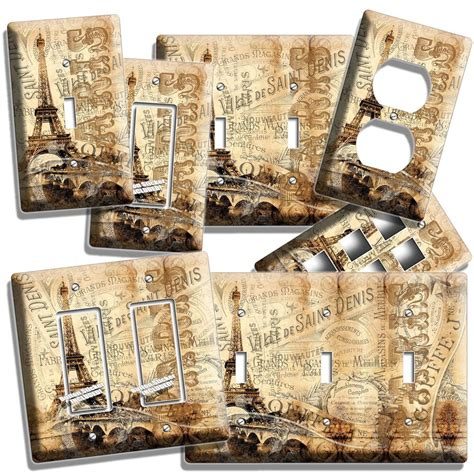 paris eiffel tower vitage decorative light switch wall