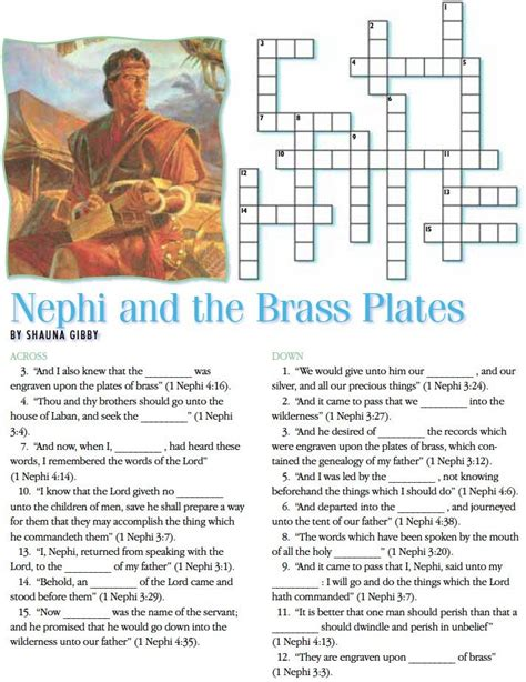 the cross word and sacrament books lds crossword puzzles nephi and the brass plates
