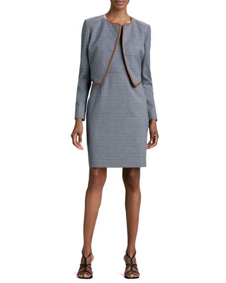 Set Cropped Jacket A Line Dress albert nipon mini houndstooth sleeveless dress jacket set