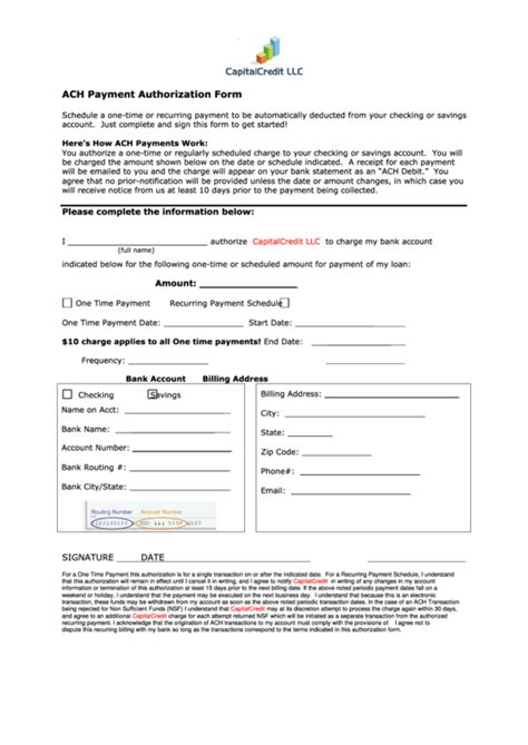 ach payment authorization form printable