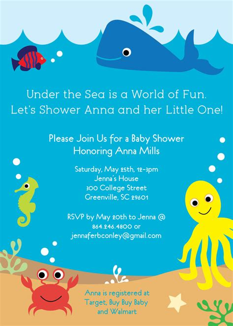 Baby Shower Invitation Templates Under The Sea Baby Shower Invitations Easytygermke Com The Sea Birthday Invitation Template