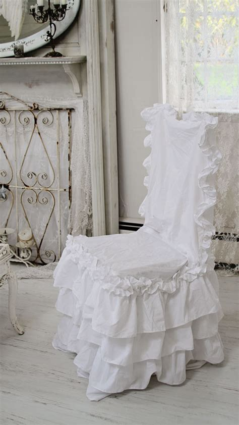 shabby chic chair slipcovers shabby chic style chair slipcover white ruffle chair pads