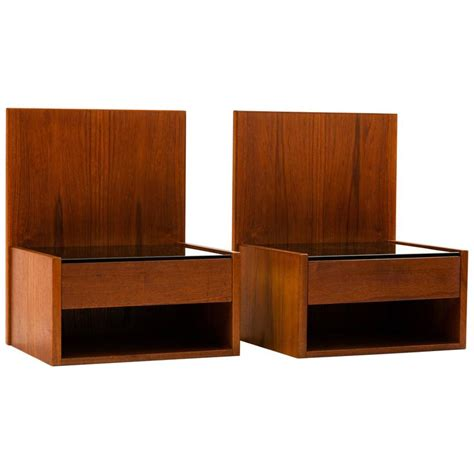 floating nightstand hans wegner pair of floating nightstands in teak with