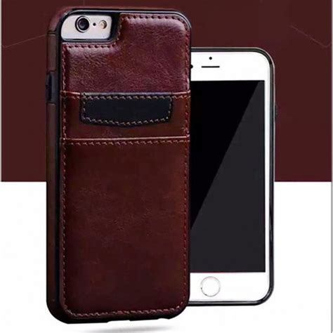 wholesale iphone     leather style credit card case brown