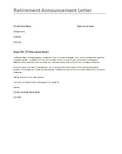 retirement announcement letter template formsword word