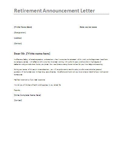 Scholarship Announcement Letter Cv Retirement Announcement Letter Template Formsword Word Scholarships For