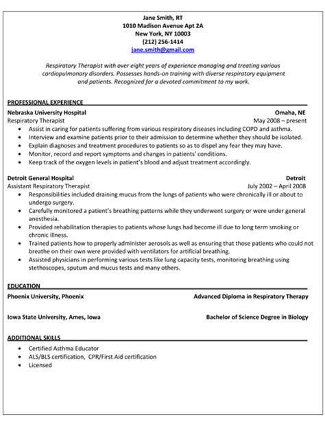 respiratory care professional resume sle resume respiratory therapist resume ideas