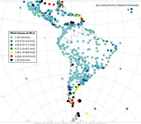 south america resources map global wind power at 80 m