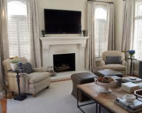 Drapes Over Plantation Shutters Fireplace Between Two Windows Home Decor Living Room