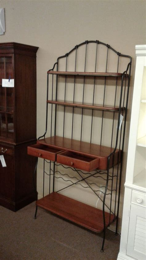 Wrought Iron Bakers Rack by Wrought Iron Wood Bakers Rack Delmarva Furniture Consignment