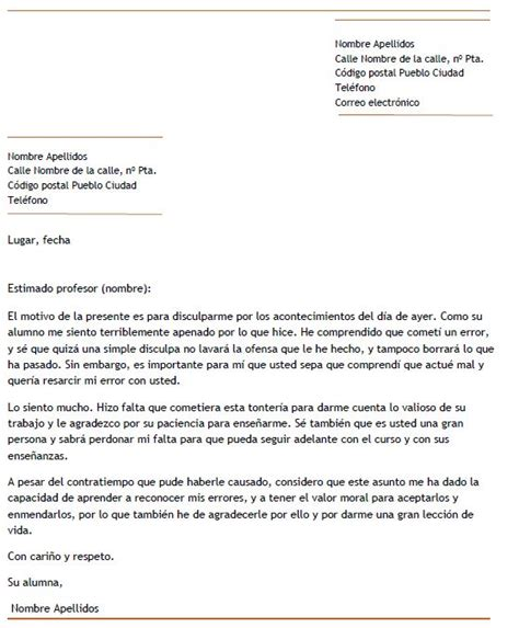 ejemplo carta de disculpa ejemplo de carta de disculpa a un profesor carta de disculpa