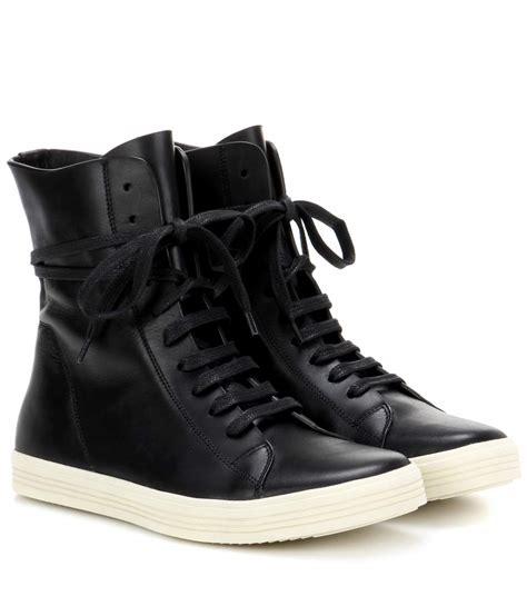 black leather high top sneakers womens rick owens leather high top sneakers black white black