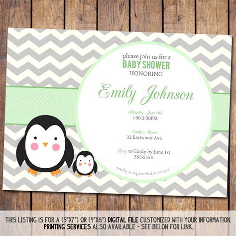 chevron baby shower invitation penguin baby by