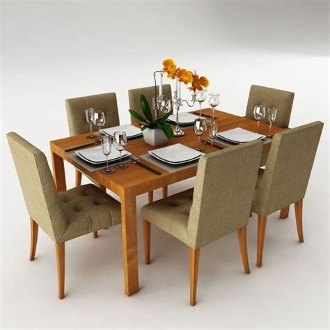 max dining table dining table set 24 3d model max obj 3ds fbx mtl