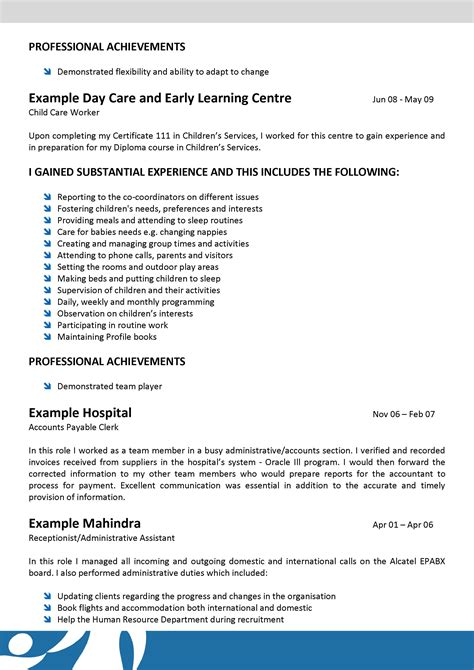 child care cv template we can help with professional resume writing resume
