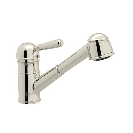 rohl pull out kitchen faucet rohl r77v3pn polished nickel country kitchen faucet with pull out spray and metal lever handle