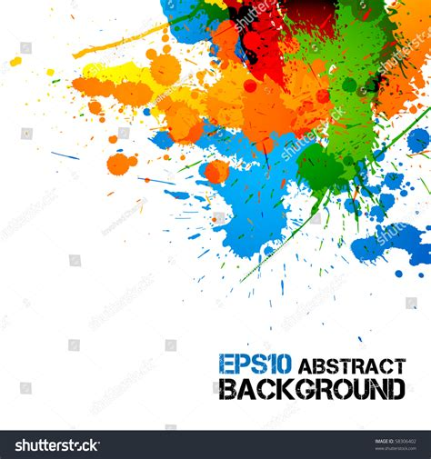 colorful paint ink splashes drops vector grunge background 58306402