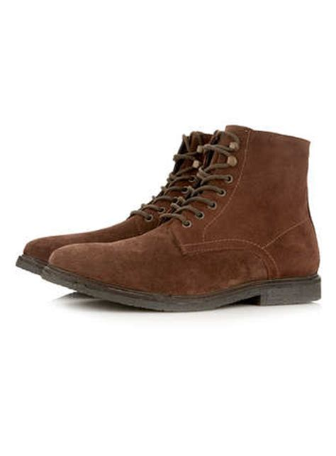 mens boots topman topman brown suede lace up boots in brown for lyst