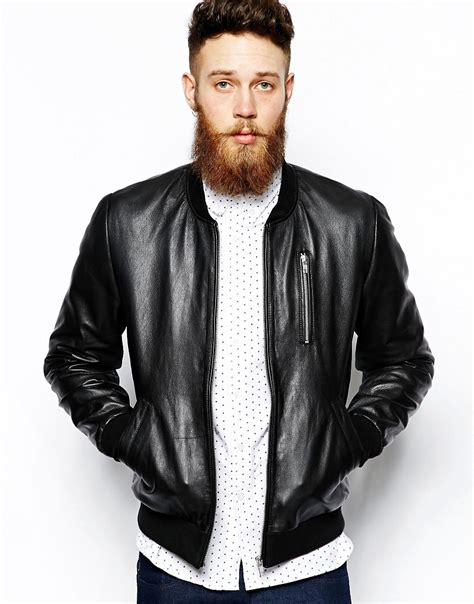 Bomber Leather by Asos Asos Leather Bomber Jacket At Asos