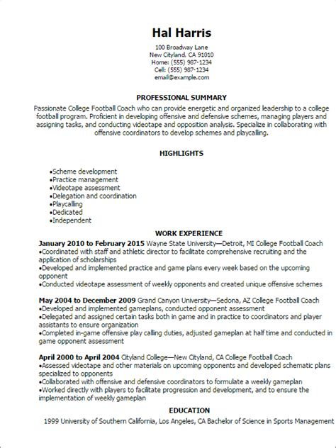 professional college football coach resume templates to showcase your talent myperfectresume