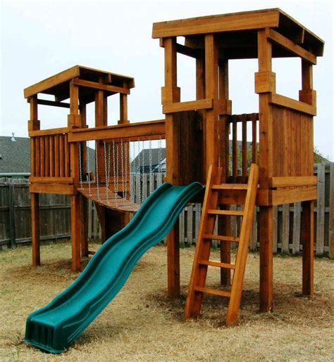 Backyard Fort For Kids Natural State Treehouses Inc Two Tower Clubhouse With