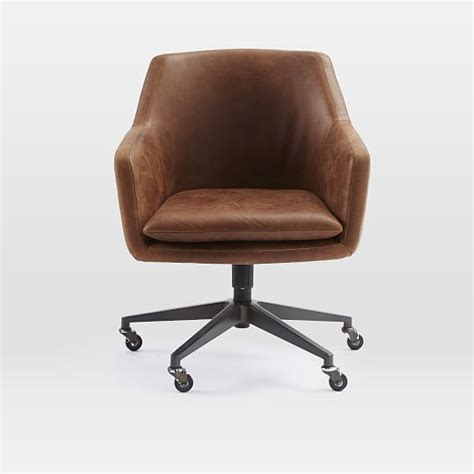 Office Leather Chairs by Helvetica Leather Office Chair West Elm
