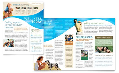 Physical Therapist Newsletter Template Word Publisher Free Fitness Newsletter Templates