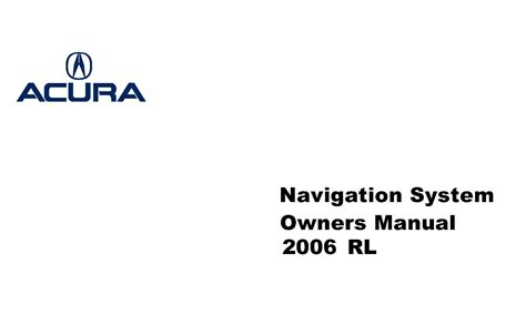 old car owners manuals 2006 acura rl navigation system acura 2006 rl navigation system owner manual 06 ebay
