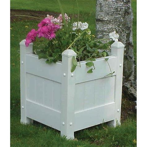 dura trel 16 in square white vinyl planter box 11123
