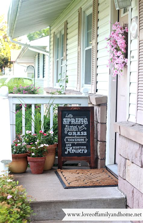 summer porch makeover chalkboard of family home
