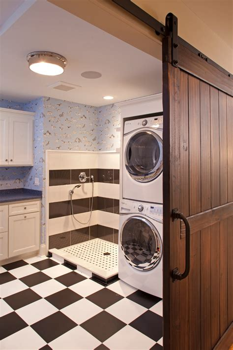 Dog Showers Laundry Room Traditional With Blue Countertop