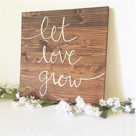 love sign home decor wooden sign rustic wooden sign white wood sign wooden sign let love grow sign love sign family