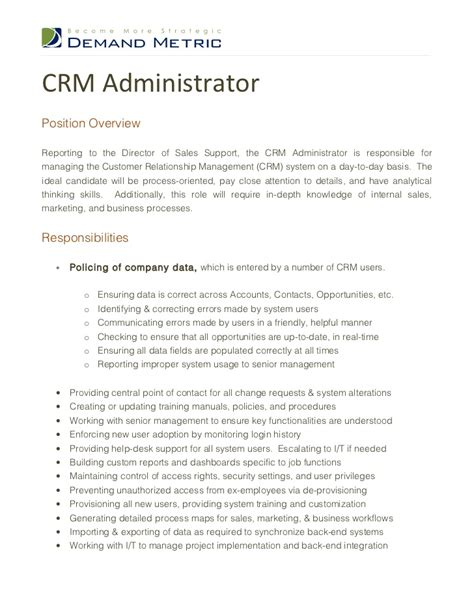 crm administrator description