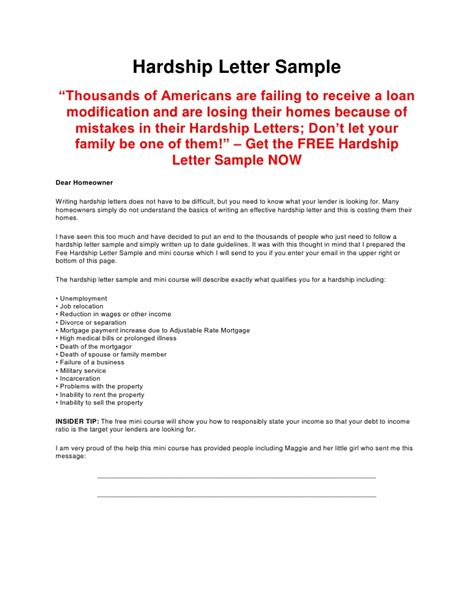 Mortgage Hardship Letter Divorce Hardship Letter Sle